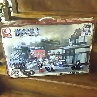 Train And Train Station Set (lego Compatible)