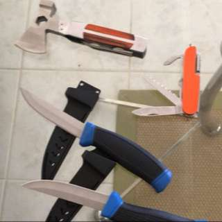 Knifes axes and multi tools