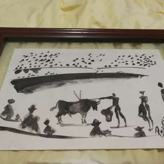 Pablo Picasso ink painting authentic with cert