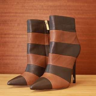 Rachel Zoe 全新正品 拼色高跟 踝靴 真皮 質感 經典