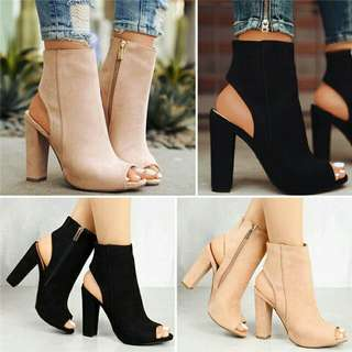 *FREE DELIVERY to WM only / Pre order 12-15 days* Ladies high heel suede woman peep sandal as shown design/color. Free delivery is applied for this item.