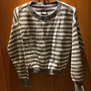🚚 Pazzo灰色條紋毛衣