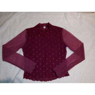 Lacey maroon blouse