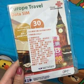 歐洲30日數據卡