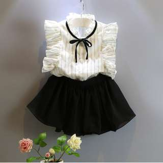 Blouse ( with Chiffon Bow ) + Skirt