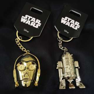 Authentic Star Wars Full Metal C-3PO and R2D2 Keychains