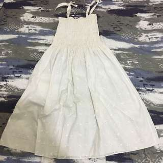 White Eyelet Spaghetti Strap Dress