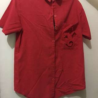 Red Ladies' Polo Blouse (L) Pre-loved