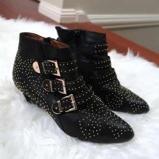Jeffrey Campbell black leather gold stud boots
