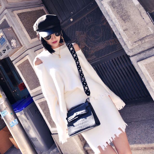 2017新款chic白色毛衣套裝裙兩件套女秋冬裝時尚潮不規則加厚包臀