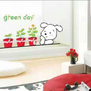 🆕全新可移除牆貼盆栽小狗🆕