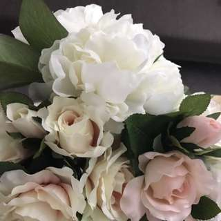 Artificial flowers rose and peony
