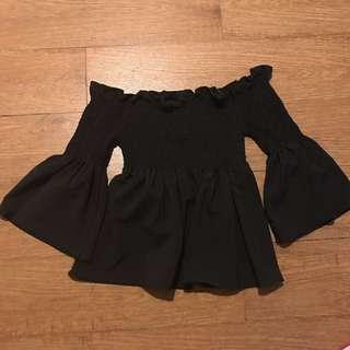 Black Off Shoulder Flare Top From Thailand!