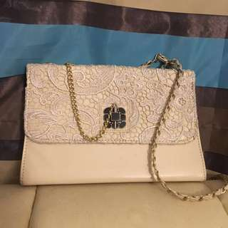 Cream Lace Handbag