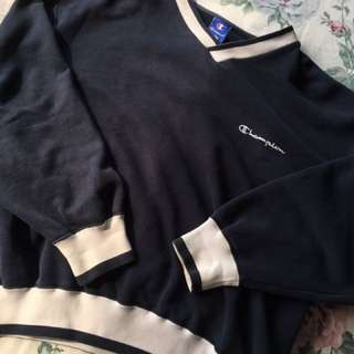 authentic champion blue vneck sweater