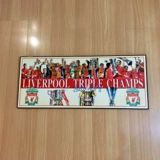 Liverpool Triple Champs Poster with frame