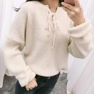 秋冬針織上衣 米白色