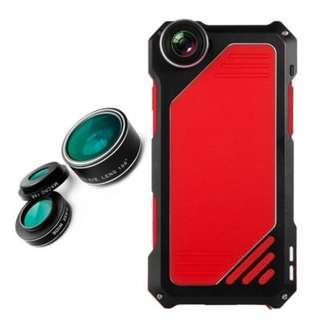 3 in 1 Kit LENS ALUMINUM Dustproof Shockproof CASE For Iphone 6/6S Plus Red/Black