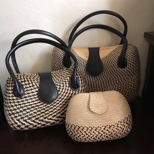 3 PIECE BUNDLE - Basket weave bags
