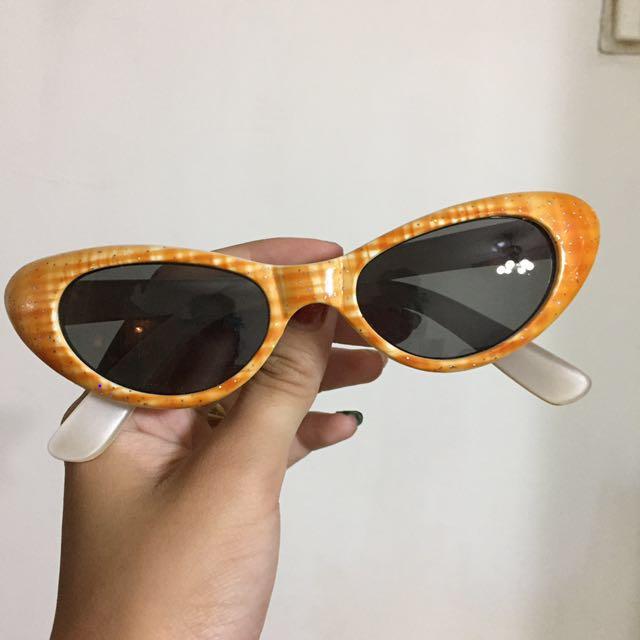 90s貓眼格紋亮蔥墨鏡