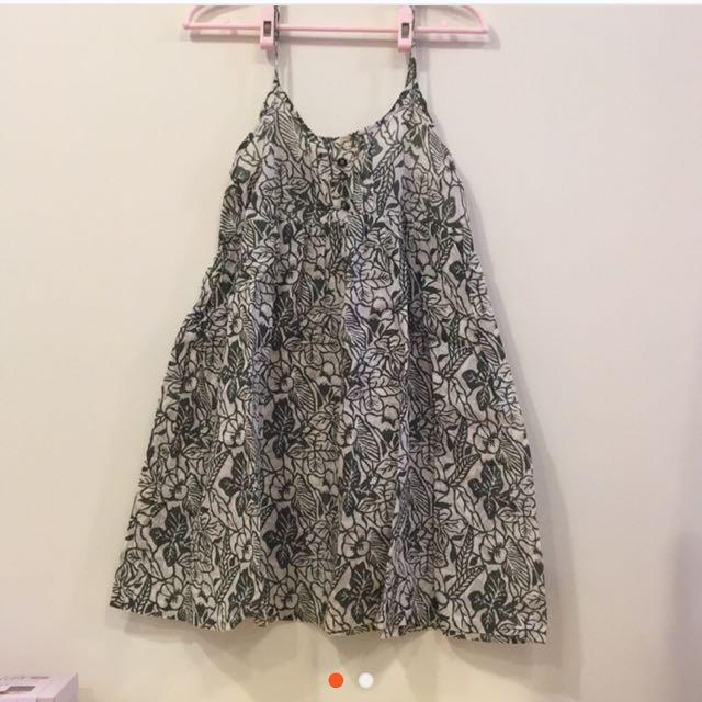 印花棉麻散狀小洋裝