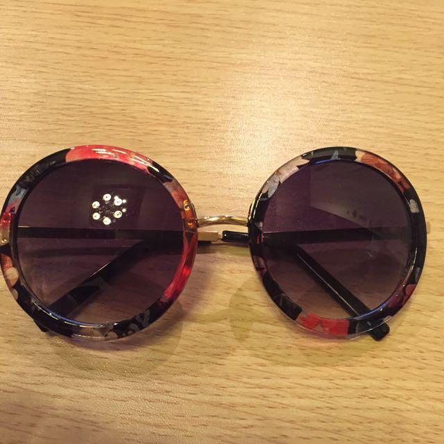 圓形花邊墨鏡