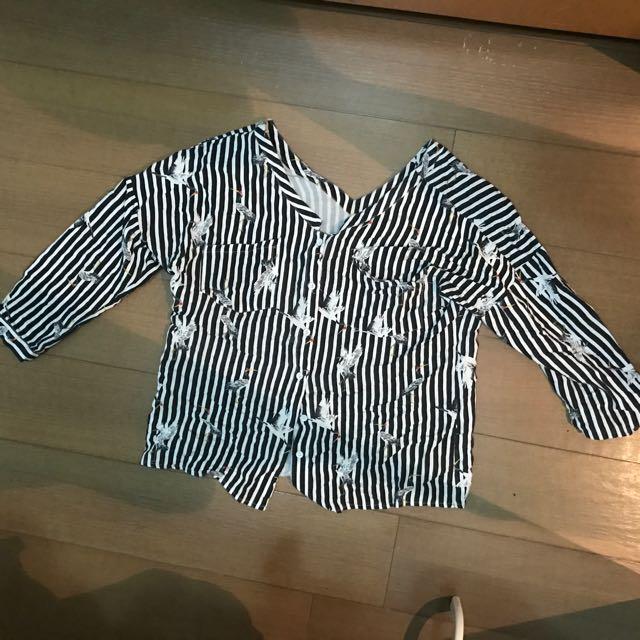 鶴直條襯衫