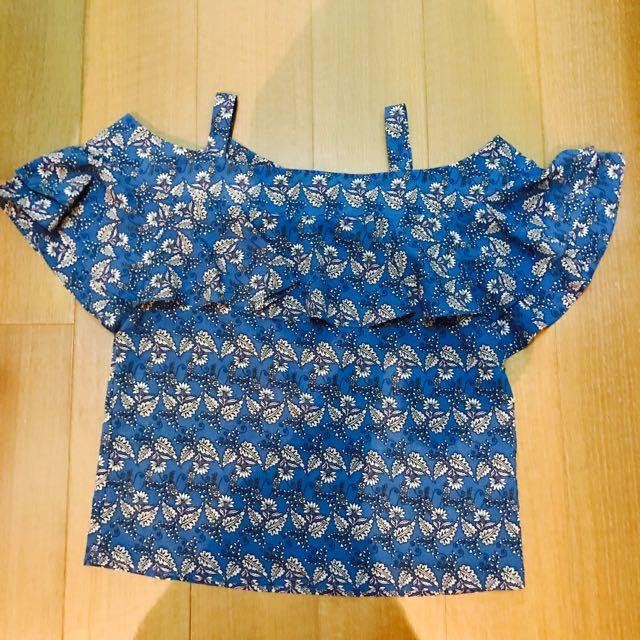 韓版藍色露肩上衣