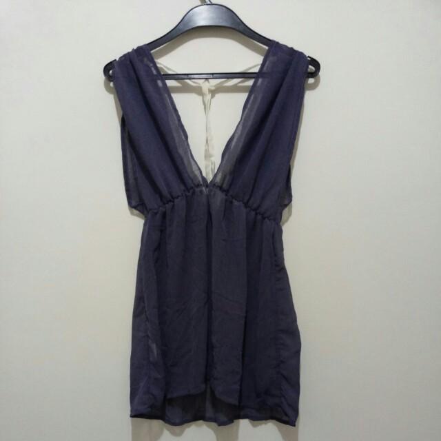 透膚藕紫長上衣