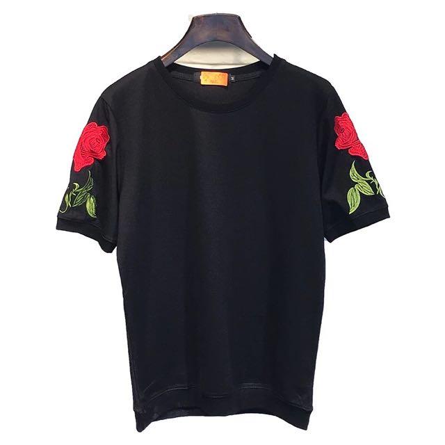長/短 黑色玫瑰刺繡上衣