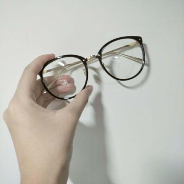 圓框復古眼鏡 金色 亮黑