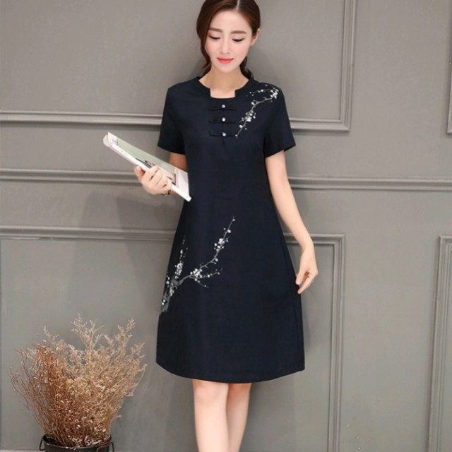 👗 Chinese dress woman cotton and linen traditional comfortable casual wear