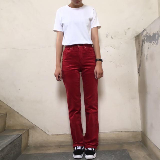 Lee老品庫存牛仔褲 燈芯絨高腰褲紅色 26腰❤️任選兩件減100✨古著復古vintage
