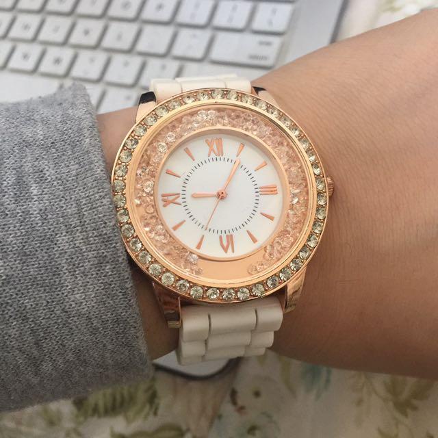 🆕 White and Gold Rhinestoned Watch