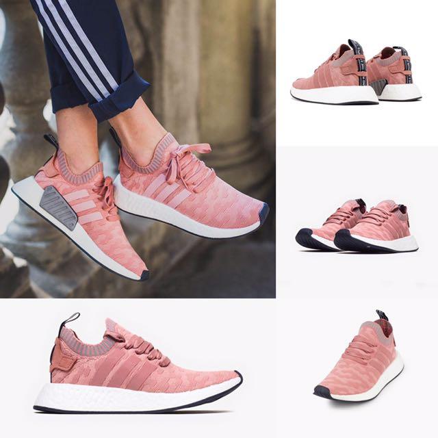 adidas NMD R2 primeknit pk BOOST BY8782 粉紅色 透氣 編織 襪套 運動鞋