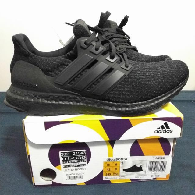 ADIDAS TRIPLE BLACK ULTRABOOST SIZE US 8.5 V2