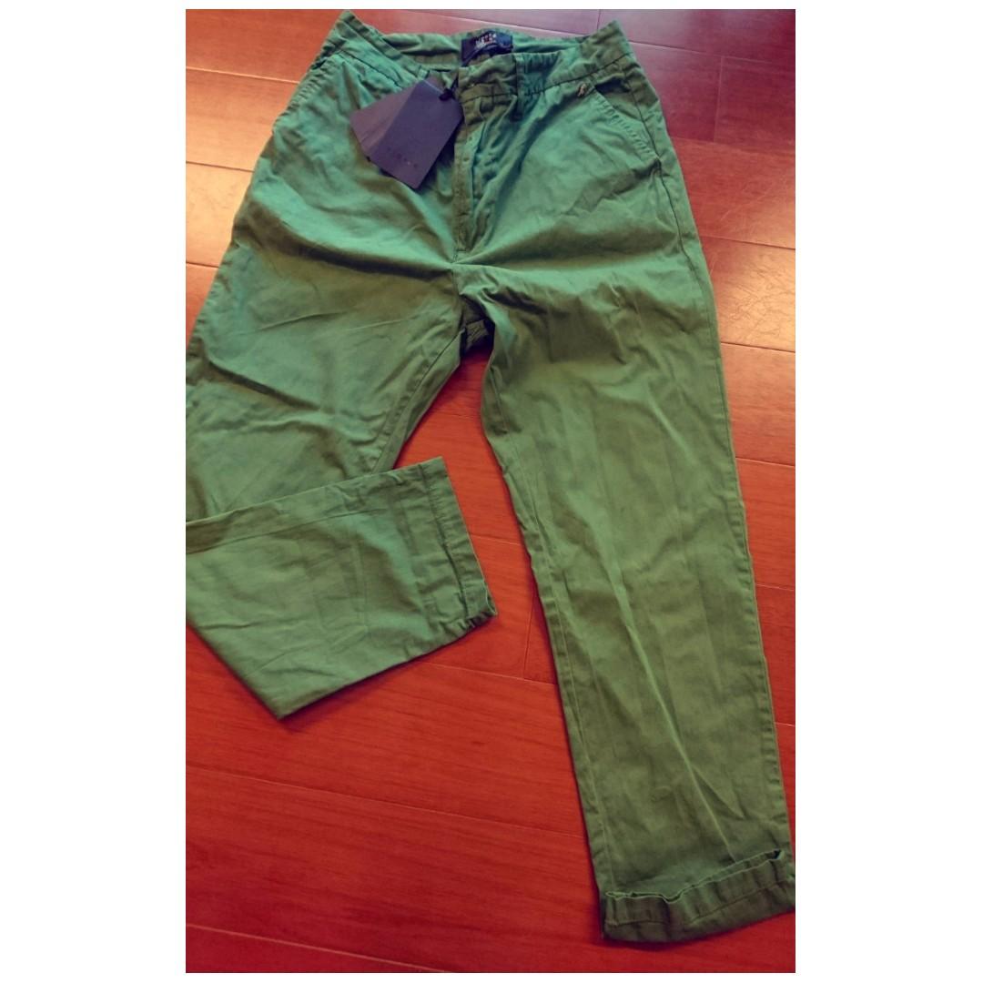 AGNES B  Sport B 經典款 綠色工作九分褲 全新 吊牌還在喔 寬版 38號