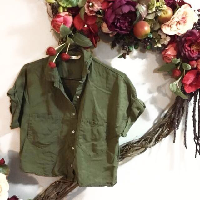 Army Green Button Up Top