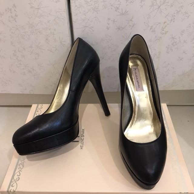 AS 專櫃 Helenespark 防水台黑色尖圓頭高跟鞋 23.5 37