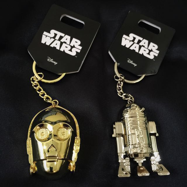 authentic star wars full metal c 3po and r2d2 keychains toys