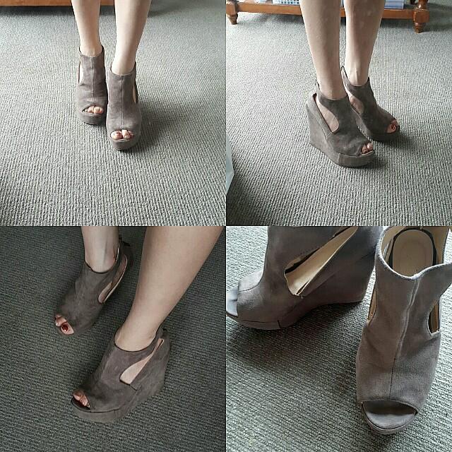 Beige suede wedge heels