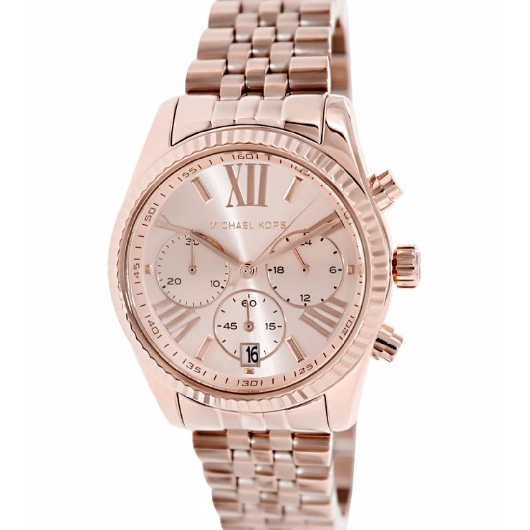 694ff31c32d1 BN Michael Kors MK5569 Women s Lexington Chronograph Rose Dial ...