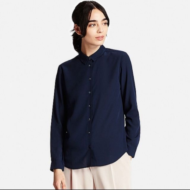 d5172d3cde502 BNWOT Uniqlo Rayon Long Sleeve Shirt in Navy