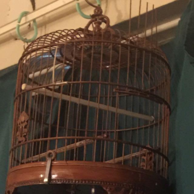 Brown Wood Bird Cage