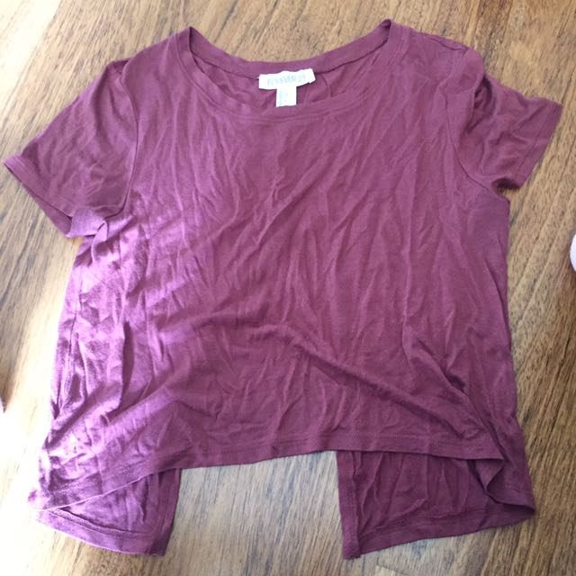 Burgundy tee with open back