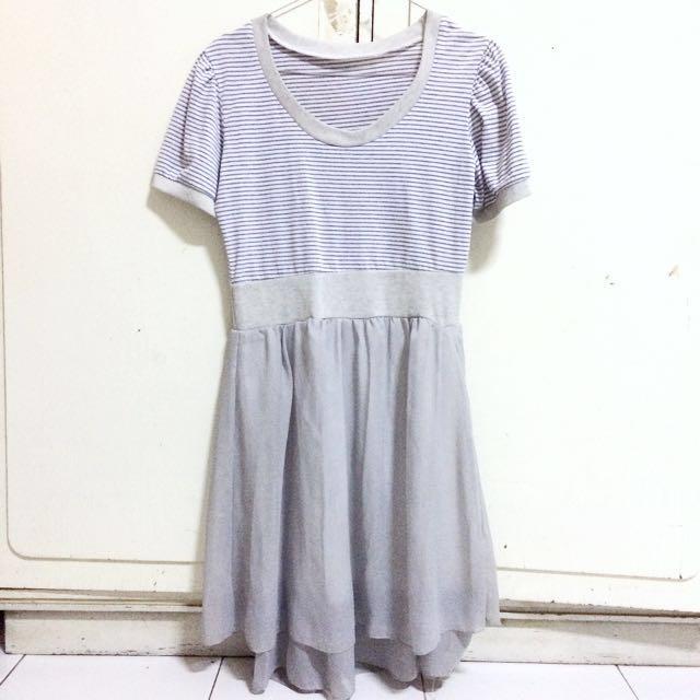 BUY 3 ONLY 55K Grey Stripe Dress
