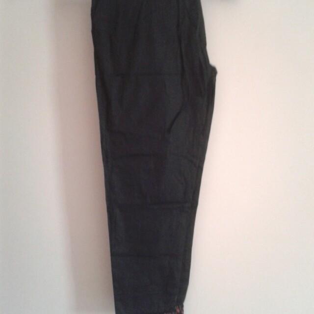 Celana Panjang Cotton Black Motif Kombinasi
