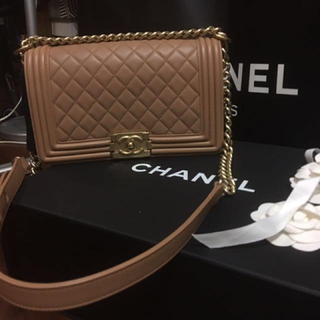 Chanel Boy 25cm 羊皮 超質感咖啡色