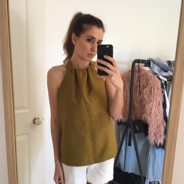 Cmeo olive halter top - size S