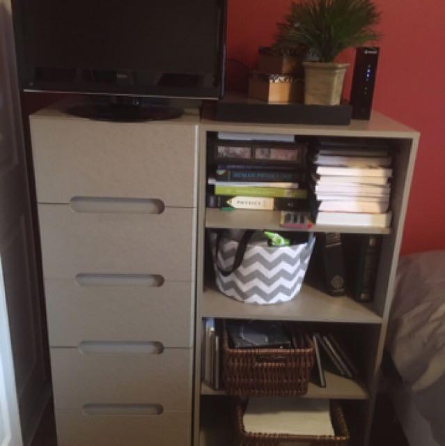 Dresser and bookshelf